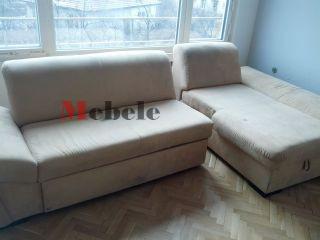 Ъглов диван с лежанка преди да бъде почистен - Мебеле ЕООД