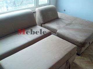 Ъглов диван с лежанка след почистване - Мебеле ЕООД