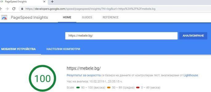 Измерена скорост на сайта - 100% при мобилната му версия